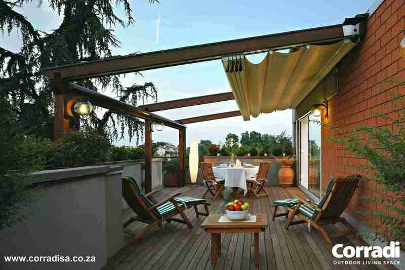 Pergotenda® 45 by Corradi. A wood pergola with an automated, motorised retractable roof