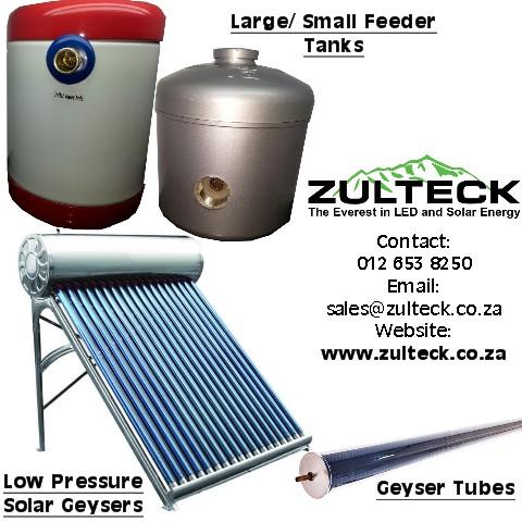 SOLAR GEYSERS (LOW PRESSURE, FEEDER TANKS, GEYSER TUBES)