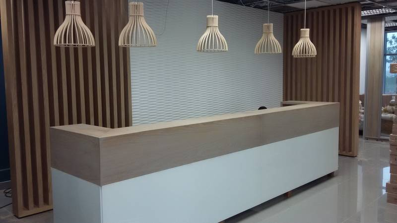Reception desk -  with a combination of timber & 3D wall panel backdrop