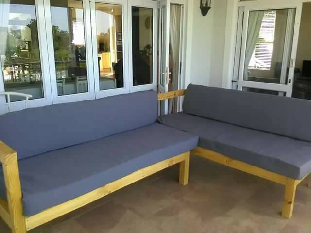 L Shape Bench with Cushions
