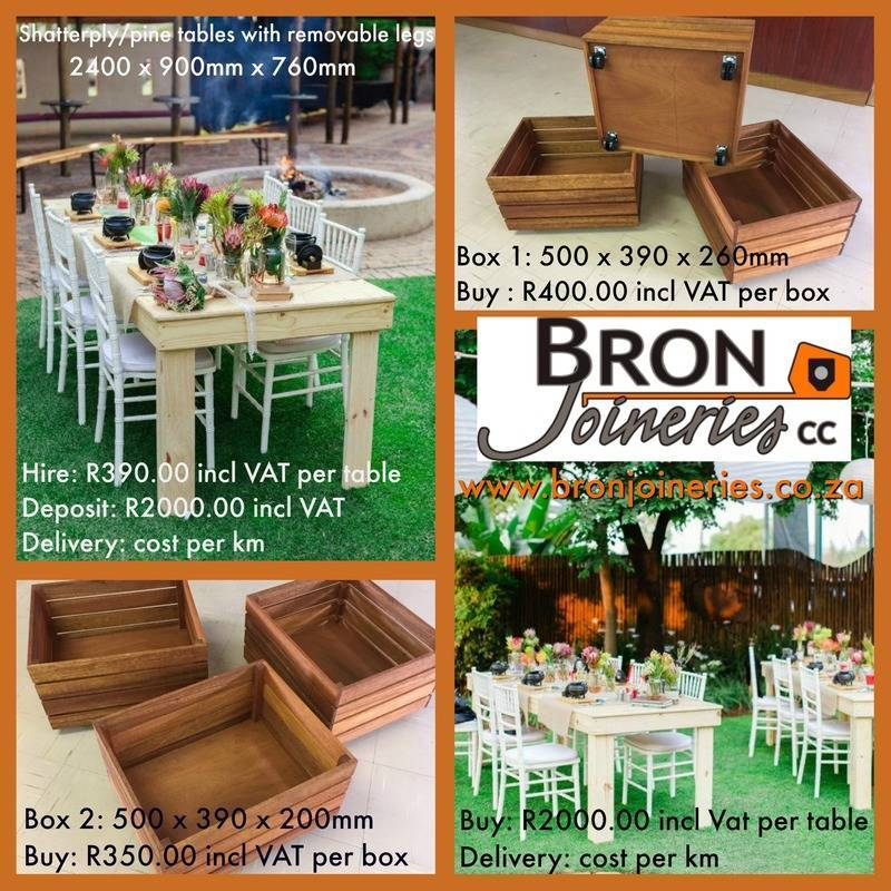 Tables and Crates for hire and to be sold