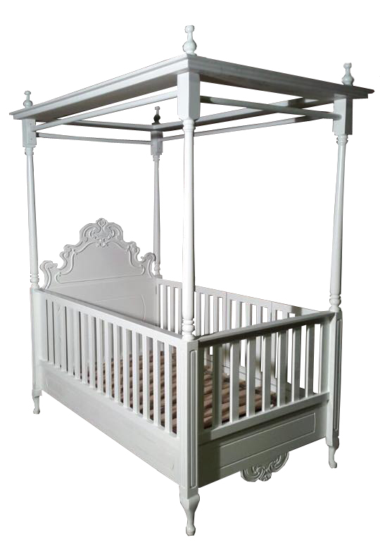 French style 3/4 bed with removable cot sides. The one side is hinged to easily get in and out of the bed.