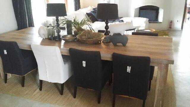 Dining Table and Chairs made to clients specifications. - Loose covers on chairs for ease of use.