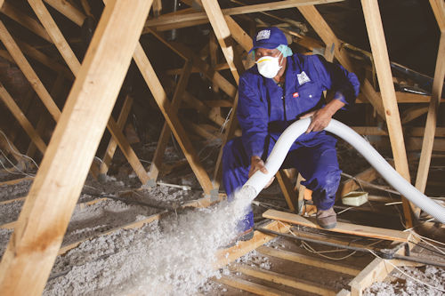Ceiling insulation is blown into every nook and cranny