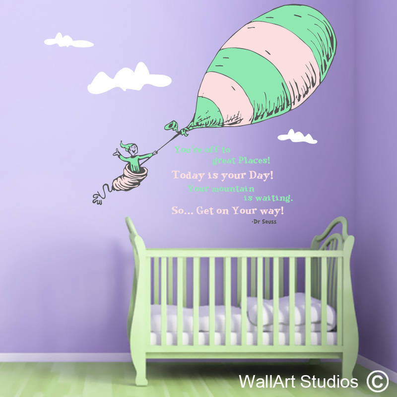 Dr Seuss, Oh the places you go wall art sticker