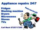 Appliance Repairs 24/7 We repair Fridges, Stoves, Washing Machines, Tumble dryers, Microwaves and TV