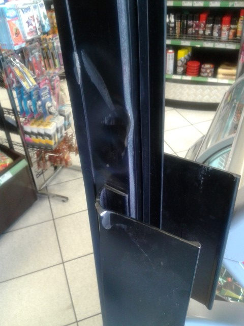 Break in damage to door