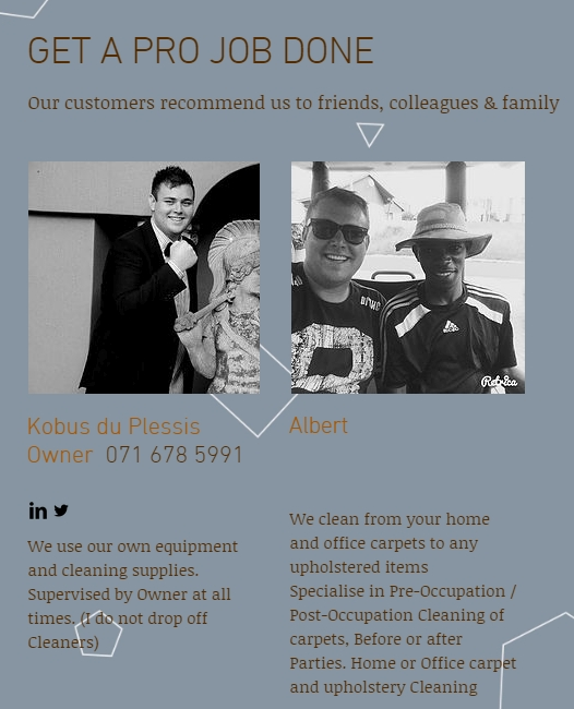 Kobus du Plessis Carpet & upholstery cleaning & mobile valet