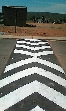 Speed hump and markings