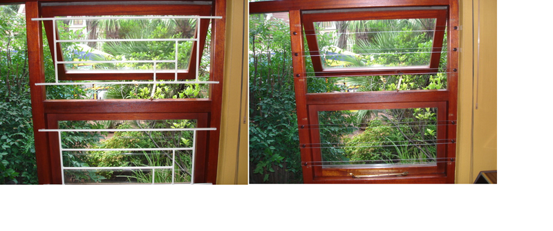 ClearBars on wood frames, before & after