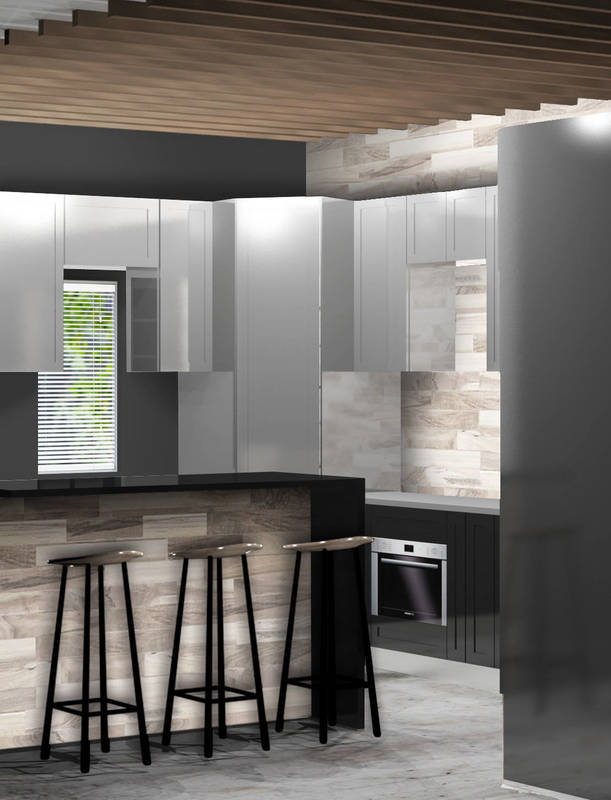 Industrial kitchen render. Finishes options. Wood and charcoal kitchen