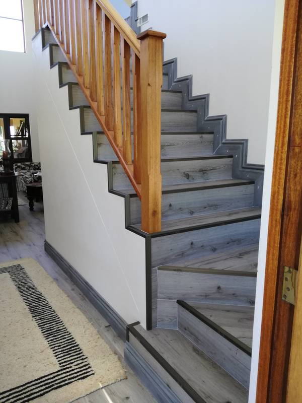 Nordic grey - 12 mm Black Forest Laminate Flooring on Stairs