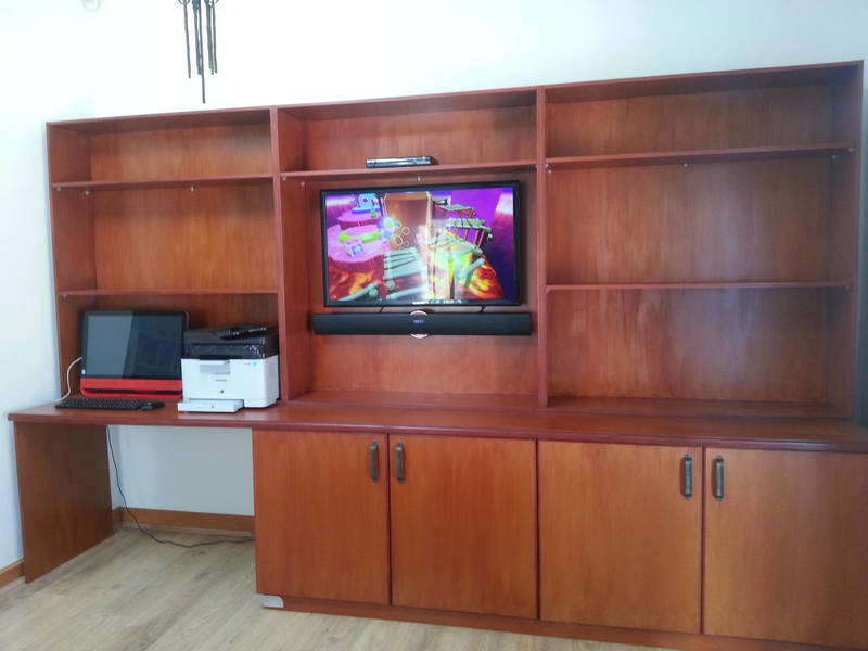 Custom TV stand with desk