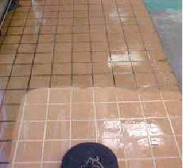 The difference between dirty and refurbished tiles
