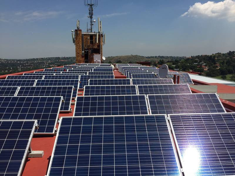 Commercial solar power system. Grid-tied self consumption. Johannesburg, South Africa.