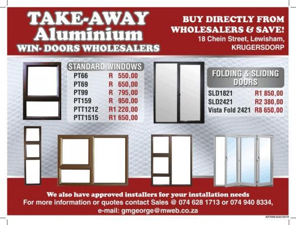 Take Away Aluminium Windows & Doors Krugersdorp/Mogalie City Building Supplies & Materials _small